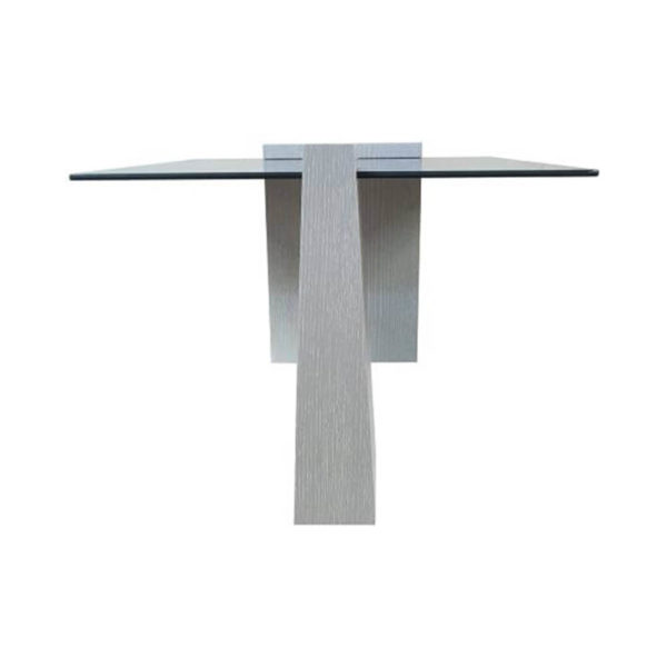Elysee Glass Top Coffee Table with wooden Legs Side View