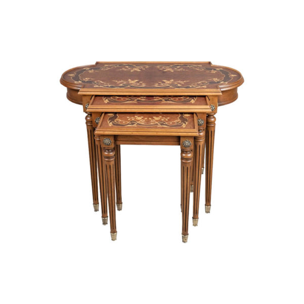 French Nest Side Table With Marquetry Top Front