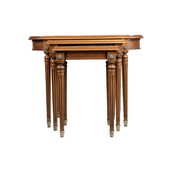 French Nest Side Table With Marquetry Top Front Light