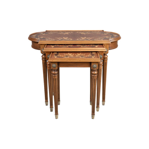 French Nest Side Table With Marquetry Top Front View Light