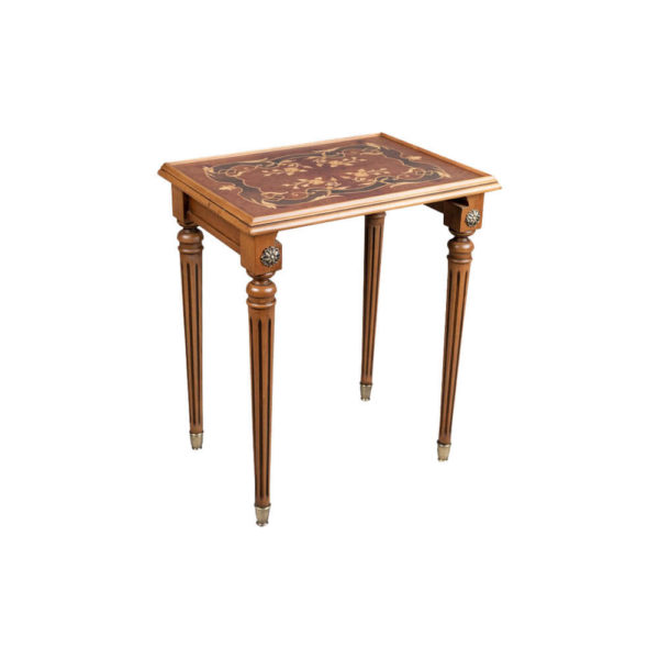 French Nest Side Table With Marquetry Top Medium Light