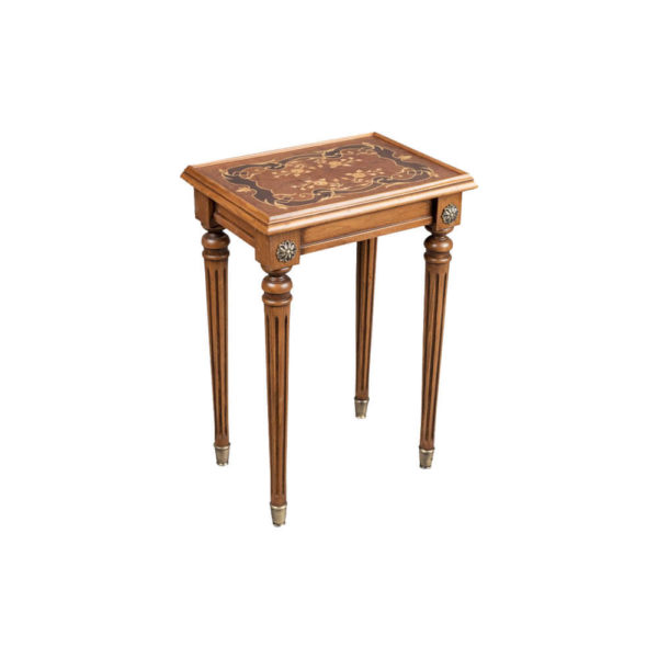 French Nest Side Table With Marquetry Top Small Light