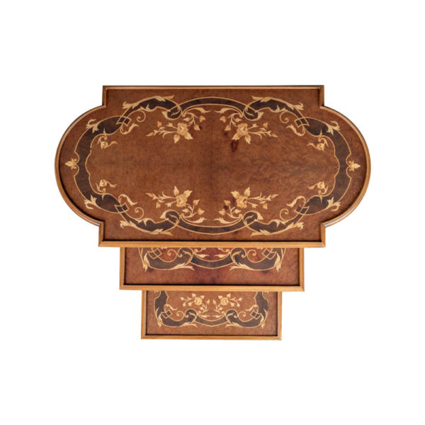 French Nest Side Table With Marquetry Top Top Light