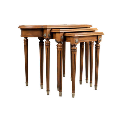 French Nest Side Table With Marquetry Top View Light