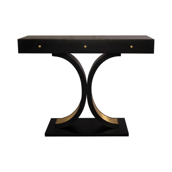 Fresno Dark Brown 3 Drawer Console Table with Curved Legs