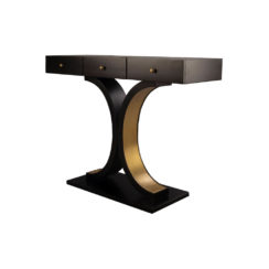 Fresno Dark Brown 3 Drawer Console Table with Curved Legs Side View