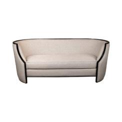 Frisco Upholstered Wooden Frame Cream Linen Sofa