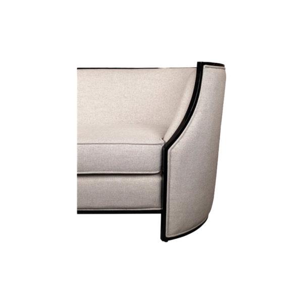 Frisco Upholstered Wooden Frame Cream Linen Sofa Curve