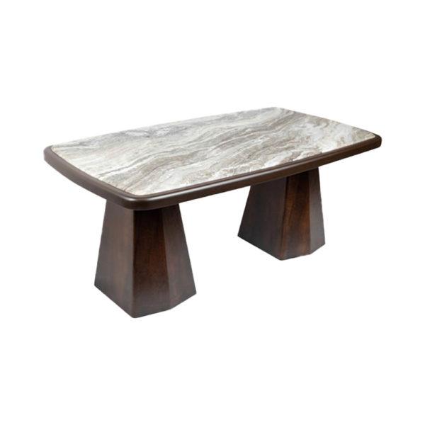 Hayman Brown Marble Coffee Table Top Corner View