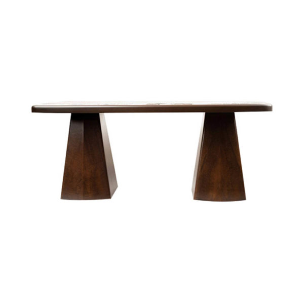 Hayman Brown Marble Coffee Table Top Front