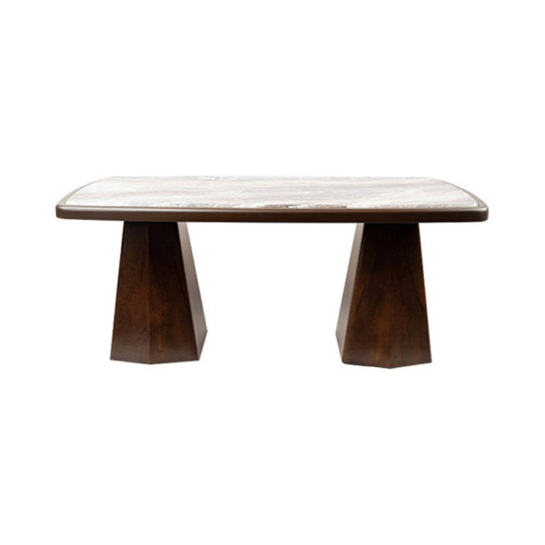 Hayman Brown Marble Coffee Table Top Front View