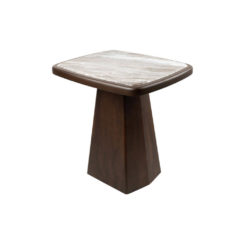 Hayman Brown Marble Topped Side Table Beside View