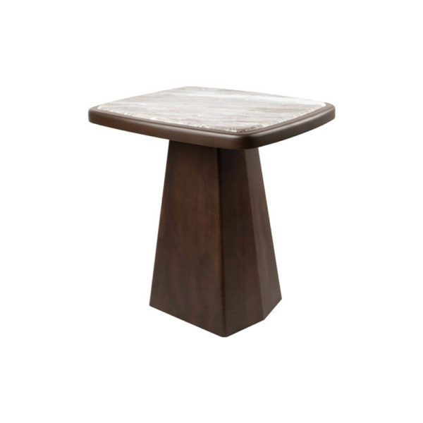 Hayman Brown Marble Topped Side Table Corner View