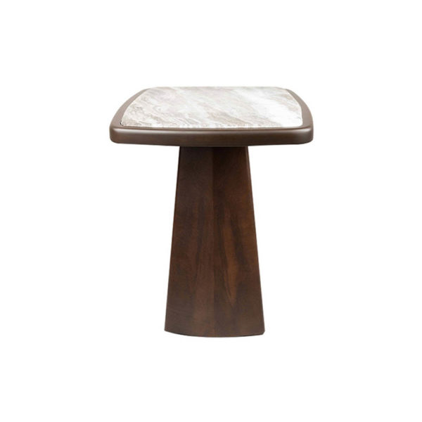 Hayman Brown Marble Topped Side Table Side View