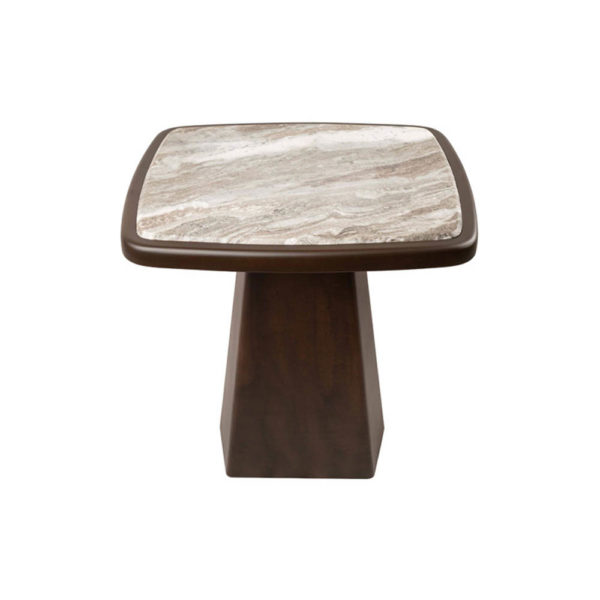 Hayman Brown Marble Topped Side Table Top Details