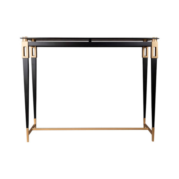Ida Glass Console Table with Stainless Steel Legs
