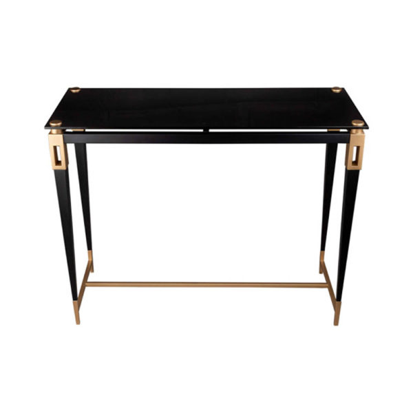 Ida Glass Console Table with Stainless Steel Legs Front