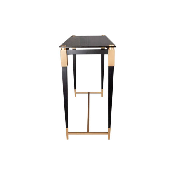Ida Glass Console Table with Stainless Steel Legs Side View