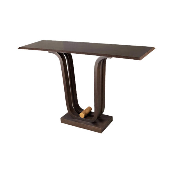 Judy Walnut Console Table with Curved Legs Corner View