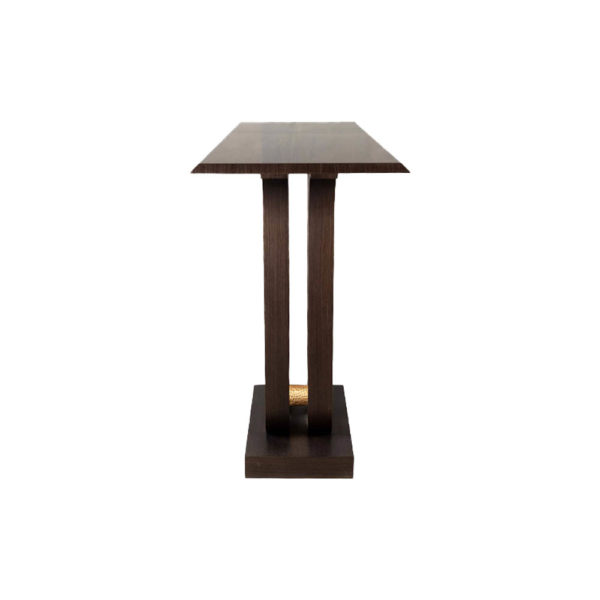 Judy Walnut Console Table with Curved Legs Right View