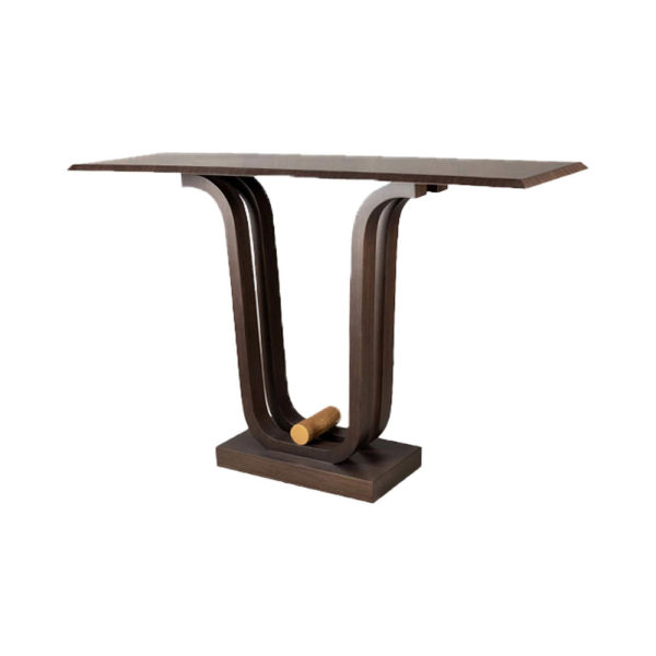 Judy Walnut Console Table with Curved Legs Side View