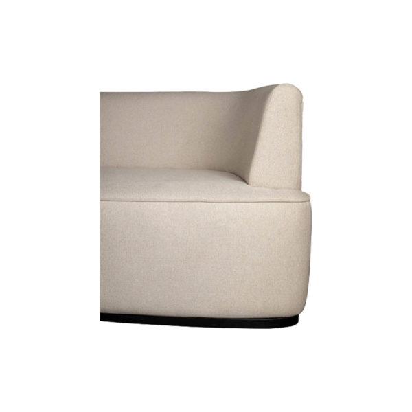 Julson Upholstered Curved Beige Fabric Sofa Arm Details Beige