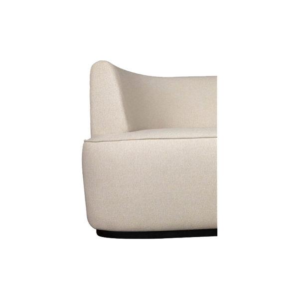 Julson Upholstered Curved Beige Fabric Sofa Details Beige