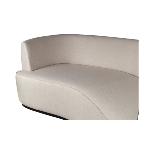 Julson Upholstered Curved Beige Fabric Sofa Top Beige