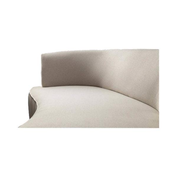 Julson Upholstered Curved Beige Fabric Sofa Top Details Beige