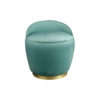 Lovy Round Velvet Turquoise Blue Pouf with Brass Base 1