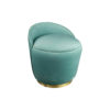 Lovy Round Velvet Turquoise Blue Pouf with Brass Base 2