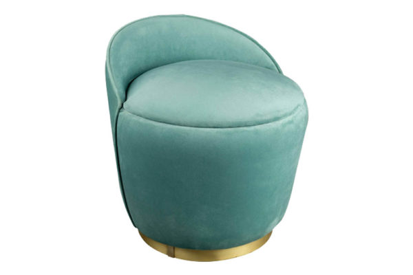 Lovy Round Velvet Turquoise Blue Pouf with Brass Base
