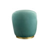 Lovy Round Velvet Turquoise Blue Pouf with Brass Base 4