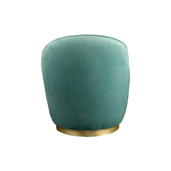Lovy Round Velvet Turquoise Blue Pouf with Brass Base Back