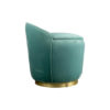 Lovy Round Velvet Turquoise Blue Pouf with Brass Base 3