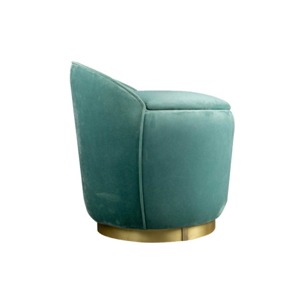 Lovy Round Velvet Turquoise Blue Pouf with Brass Base Side View