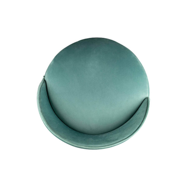 Lovy Round Velvet Turquoise Blue Pouf with Brass Base Top