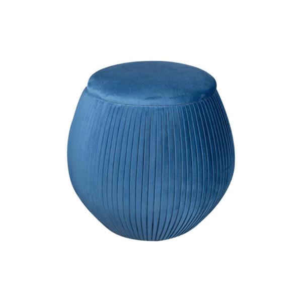 Luna Round Navy Blue Pouf