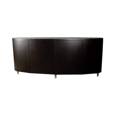 Nathan Oval Dark Brown Sideboard with Brass Inlay
