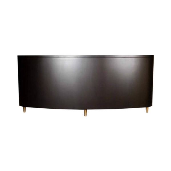Nathan Oval Dark Brown Sideboard with Brass Inlay Back View