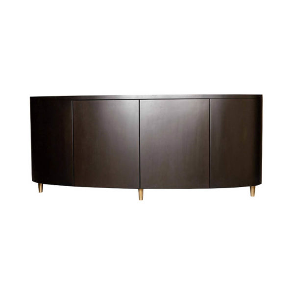 Nathan Oval Dark Brown Sideboard with Brass Inlay Front View