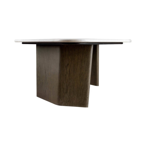 Olney Wooden Gray Marble Coffee Table Left View