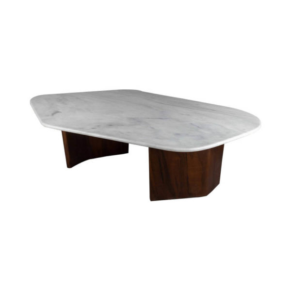 Olney Wooden with Dark Gray Marble Coffee Table Corner