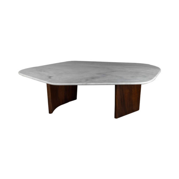 Olney Wooden with Dark Gray Marble Coffee Table Front