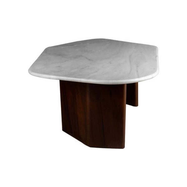 Olney Wooden with Dark Gray Marble Coffee Table Left View