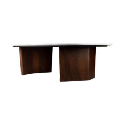 Olney Wooden with Dark Gray Marble Coffee Table Side View