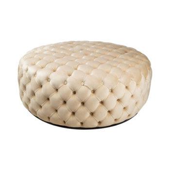 Oscar Tufted Cream Round Velvet Ottoman