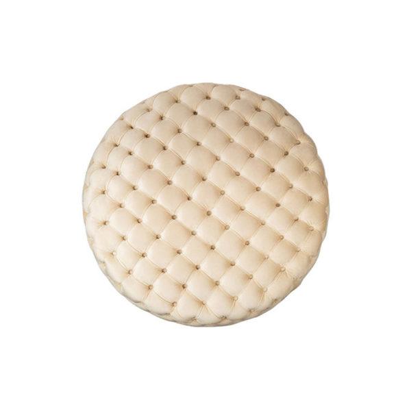 Oscar Tufted Cream Round Velvet Ottoman Top