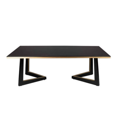 Rion Dark Brown Wood and Brass Coffee Table