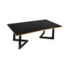 Rion Dark Brown Wood and Brass Coffee Table 3